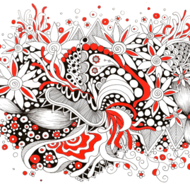 Flower Explosion Ink Pen Doodles - Black & Red