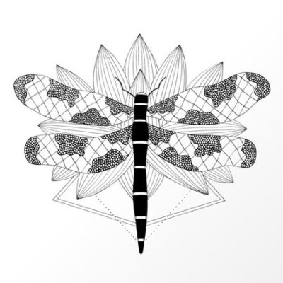 Dragonfly Over Lotus